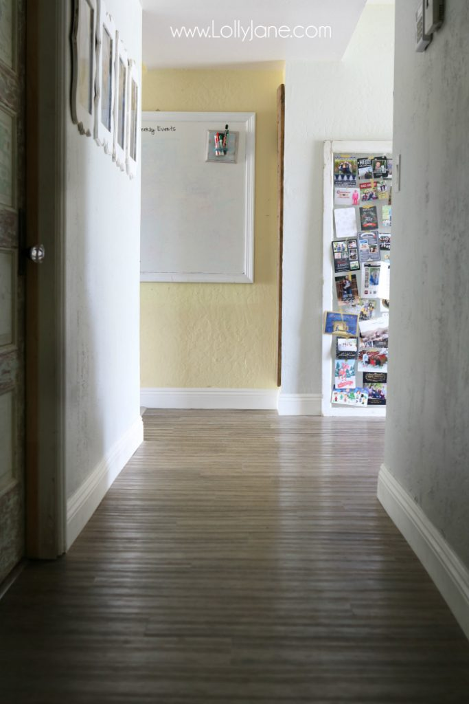 Love these vinyl floors from @GoHaus. They look great in my farmhouse style home! Adore these hall floors.