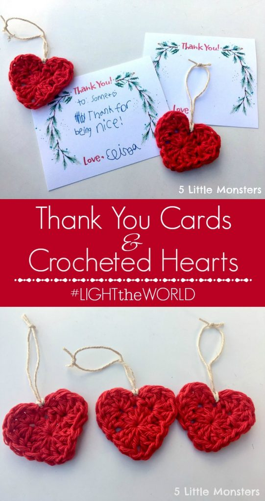Thank you's with DIY Crocheted Hearts