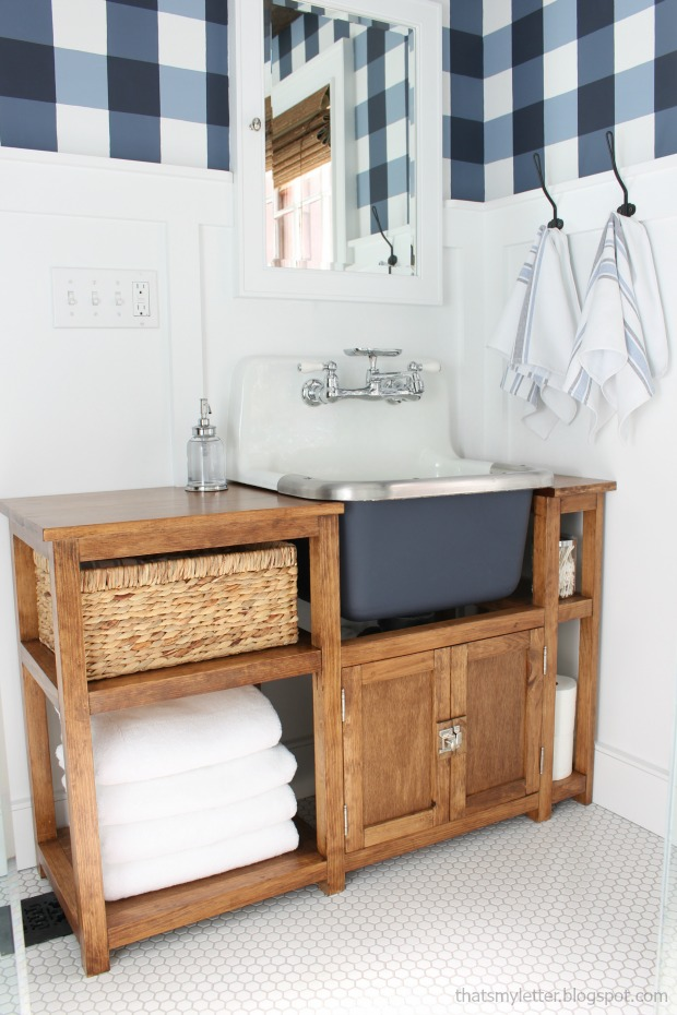 DIY Wall Sink Vanity... and that buffalo check wall?! I die! ALL done herself, love this site!