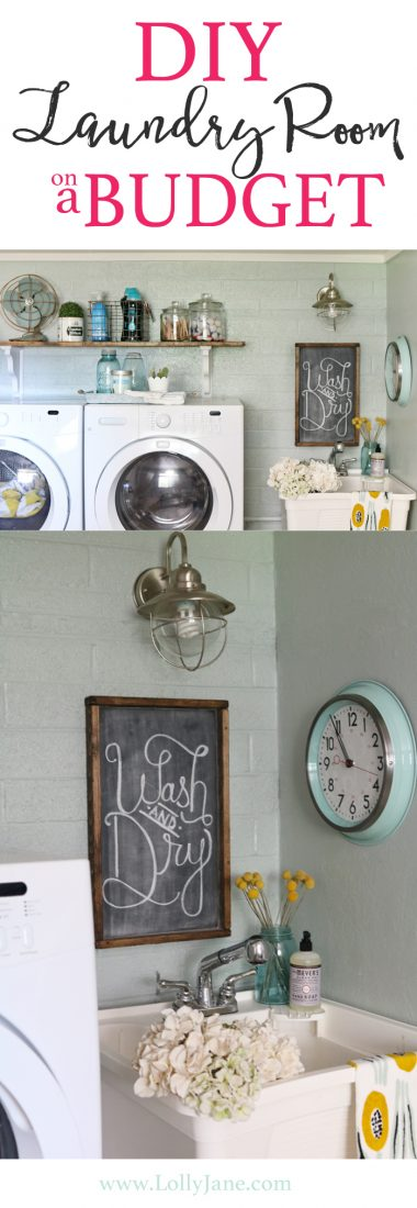 Easy step-by-step tips to spruce up your laundry room on a budget! We transformed this space for less than $300!