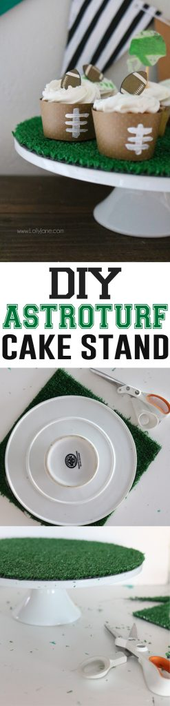 DIY Astroturf Cake Stand... perfect for game day treats or cupcakes or a cake! Make this in less than one minute!