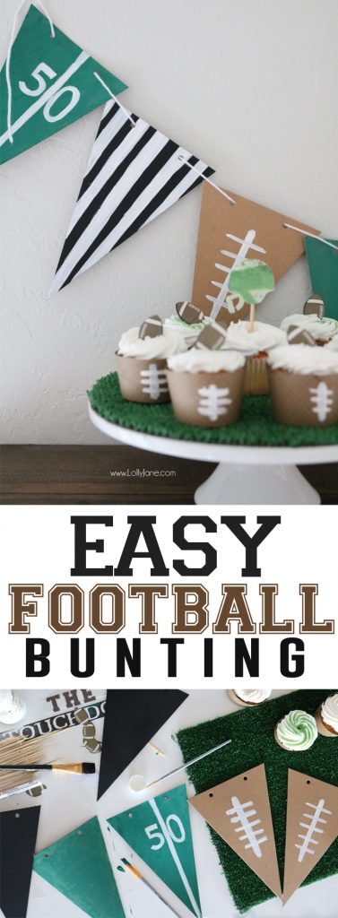 Easy peasy DIY Football Bunting! Cute referee, field and football pennants perfect for a football party!