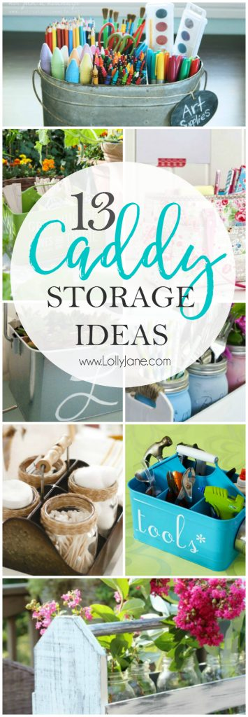 13 caddy storage ideas. Don't pass up those cute enamel bins, lots of ways to organize! Like to build? Click through to some easy DIY caddy tutorials!