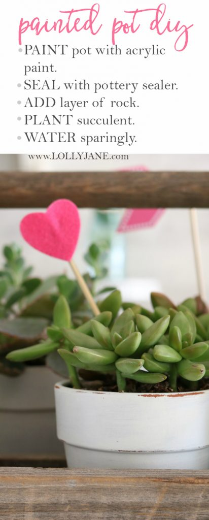 Valentine's Day succulent planter centerpiece. Easy to assemble: pot succulents into an old tool box, add felt heart sticks to accessorize. Love this easy Valentine's Day decor!