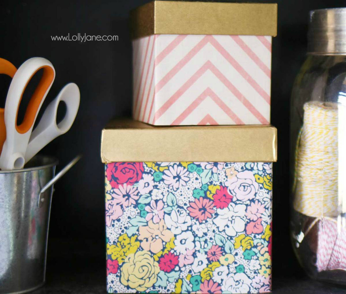 DIY Paper Covered Wood Boxes: easy fabric and paint craft tutorial. Cute DIY storage box ideas, just wrap/glue paper around a box, paint the lid and add a knob!