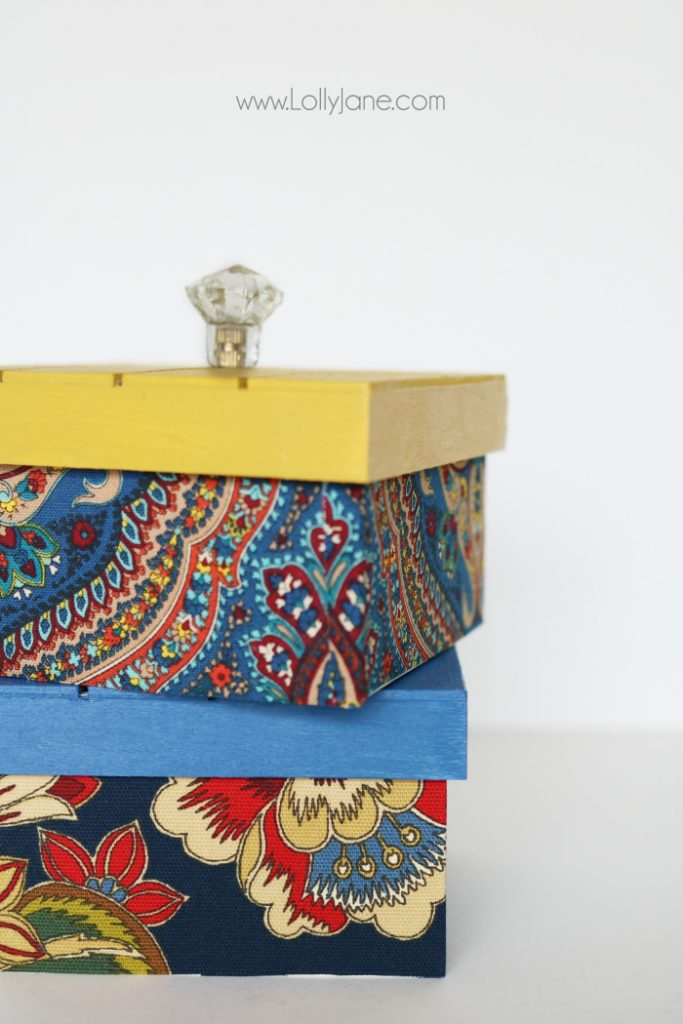 DIY Fabric Covered Wood Boxes: Easy Fabric And Paint Craft Tutorial. Cute  DIY Storage