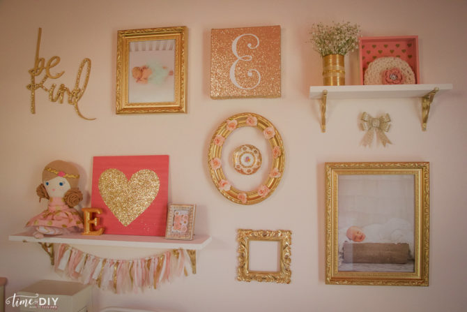 Have you ever wondered how to create a gallery wall? We've got step by step instructions with lots of tips and tricks for creating a gallery wall for a kids room. Say goodbye to bare walls! #gallerywall #diy #howto #homedecor #gallerywalldecory #kidsroom #girlsroom #toddlerroom