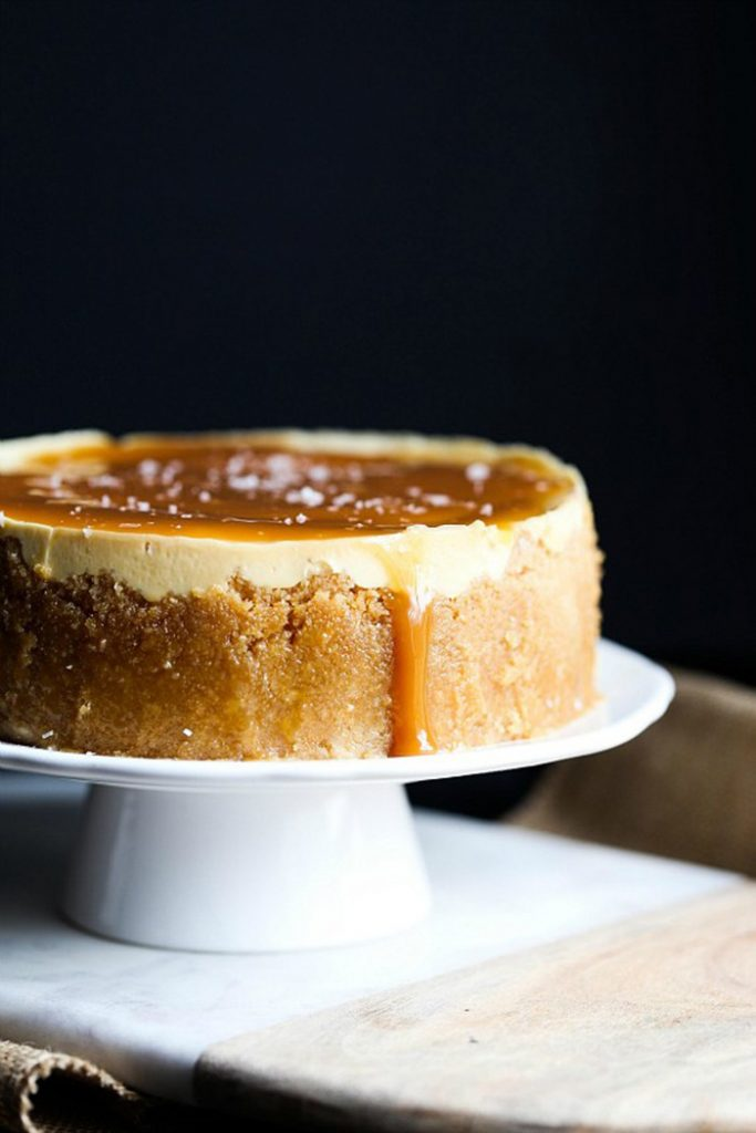Instant Pot Dessert Recipes - salted caramel cheesecake
