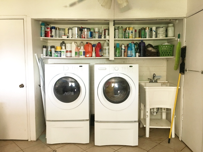"Click to see the AMAZING ""after"" of this laundry room, made over for under $500!"