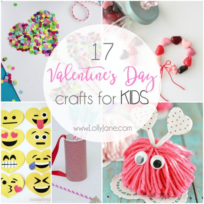 17 ridiculouslyl cute Valentine's Day crafts for kids. Lots of easy to make Valentine's Day kids crafts!