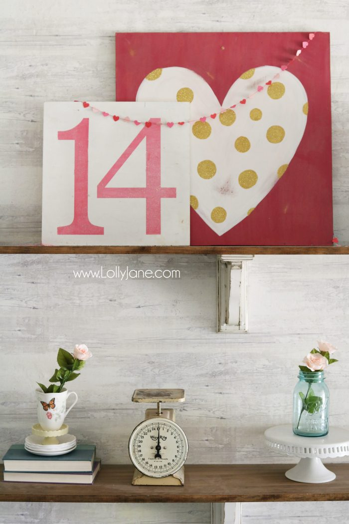Valentine's Day shelves. Love the pink and aqua Valentine's Day mantel. Simple VDay decor ideas!