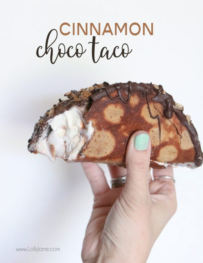 Easy Cinnamon Choco Tacos, made with Cinnamon Pebbles and ice cream topped with cinnamon, so good!