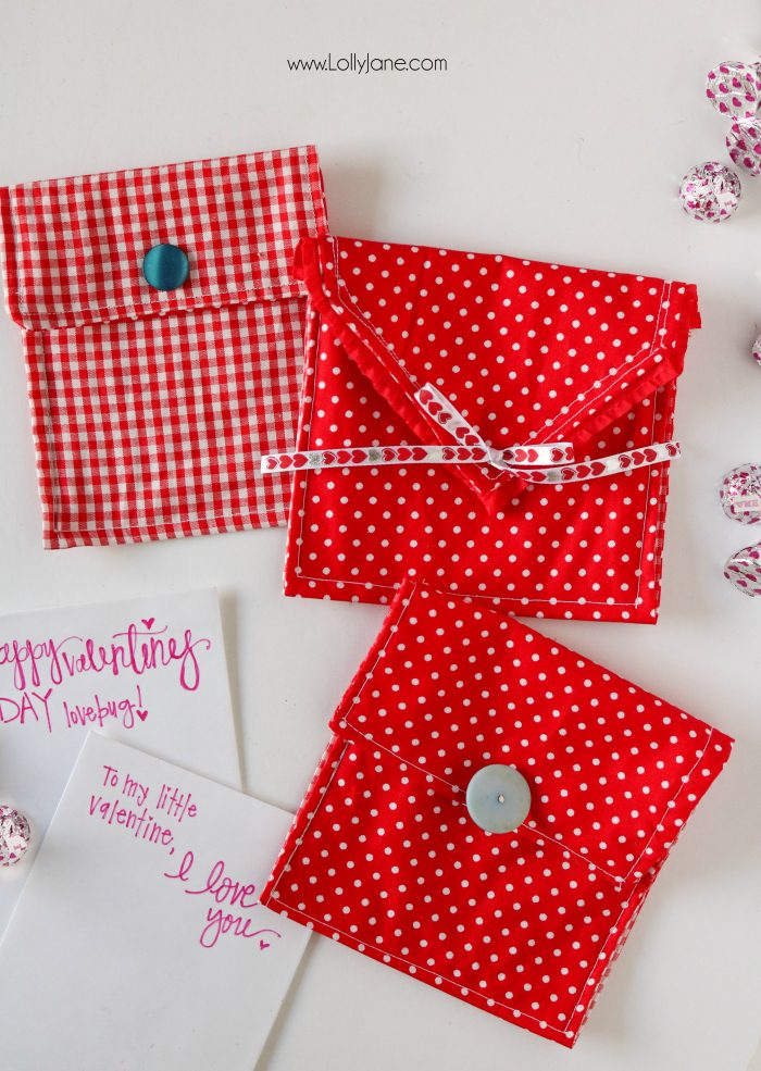 DIY Valentine's Envelope... add treats or a little love note inside! Easiest sewing tutorial ever!