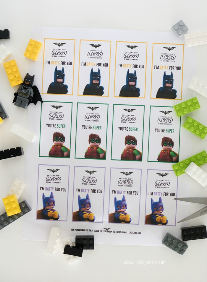 Free LEGO Batman Valentines... just print off OR include with LEGO's or LEGO candies!