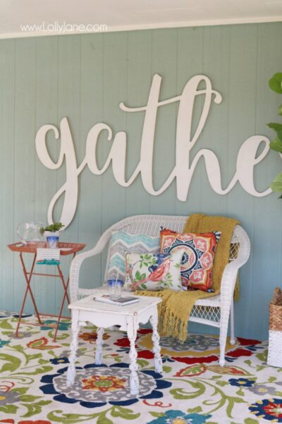 Love these affordable patio porch decor ideas! Add a neutral bench then fill it up with accessories for some easy decor ideas. Click through for inexpensive sources, so easy to create this back porch look!