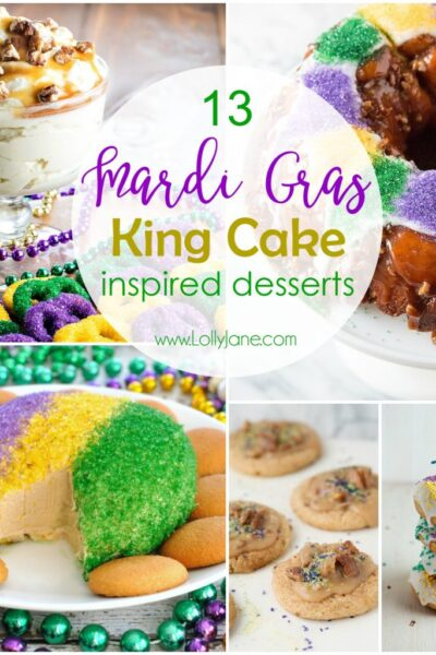 13 Mardi Gras King Cake inspired desserts! Get festive with these colorful and yummy desserts in honor of Mardi Gras, party!!