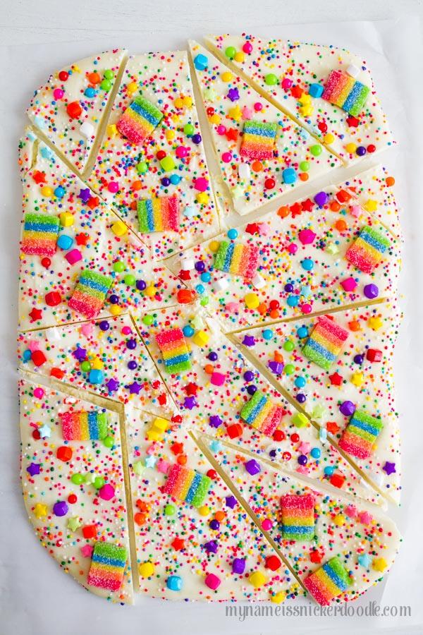 Candy Rainbow Bark. SO GOOD!