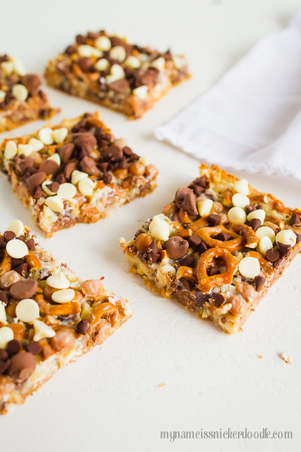 Magic Caramel Pretzel Cookie Bars