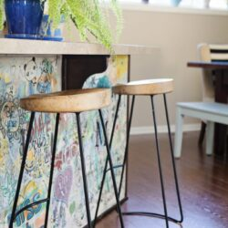 DIY graffiti kitchen island art