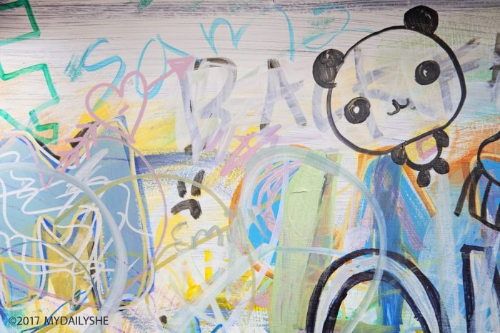 DIY graffiti kitchen island art. This grafitti art is such a fun statement in your home