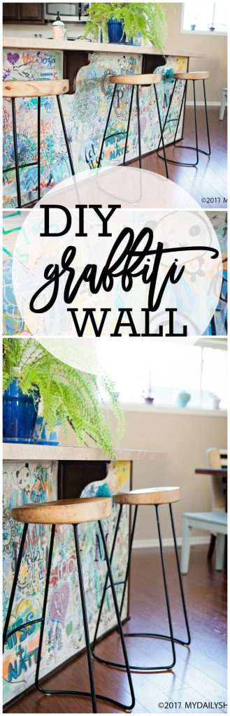 DIY graffiti kitchen island art. This grafitti art is such a fun statement in your home