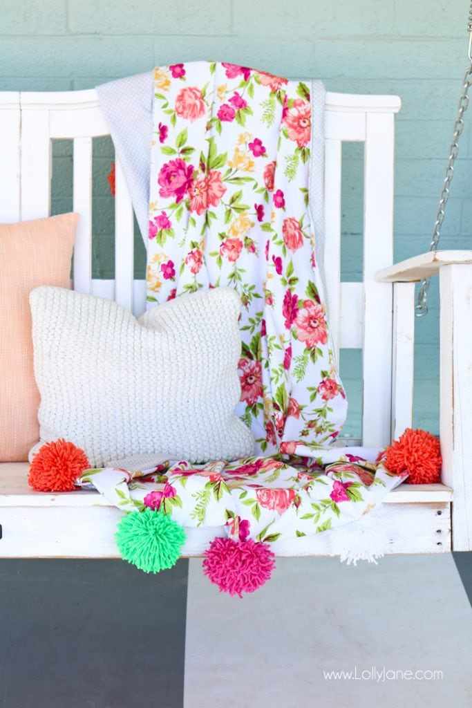 how to make a pom pom throw blanket