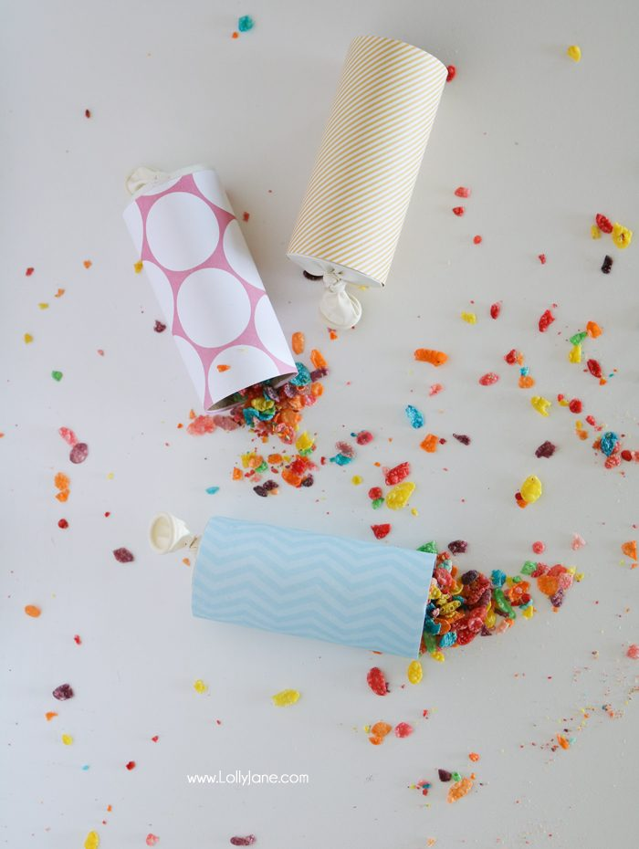 Easy party poppers for ANY celebration made from toilet paper rolls and colorful cereal! Great for outdoor parties, let the birds enjoy OR use glitter, pom poms, rice or other fun fillers!