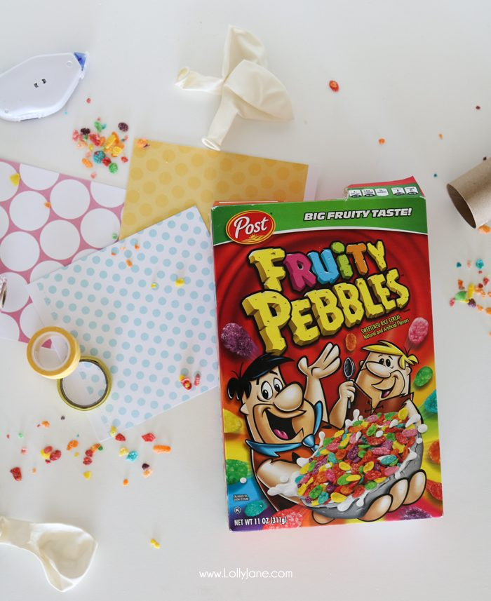 Easy party poppers for ANY celebration made from toilet paper rolls and colorful cereal! Great for outdoor parties, let the birds enjoy!
