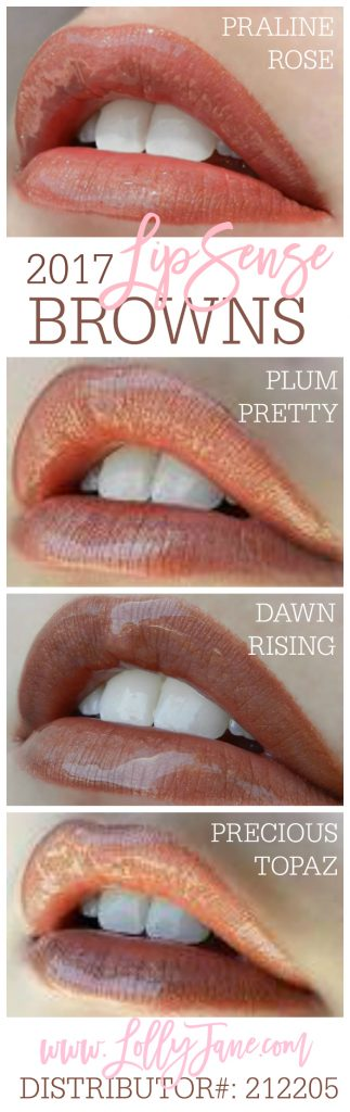 2017 brown LipSense colors. Love these longlasting lipcolors! Collect all 37 shades from LollyJane.com #lipsense