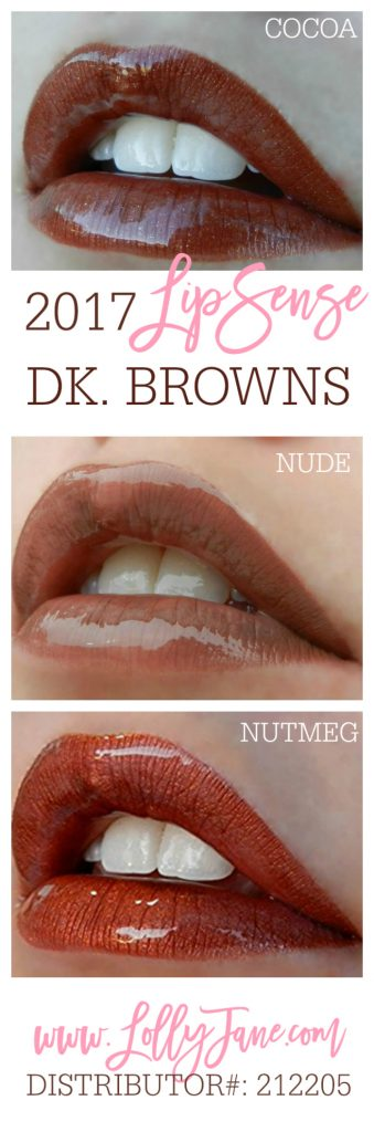 2017 dark brown LipSense colors. Love these longlasting lipcolors! Collect all 37 shades from LollyJane.com #lipsense