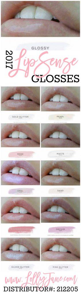 2017 LipSense glosses. Love these LipSense hydrating glosses! Collect all 11 shades from LollyJane.com #lipsense