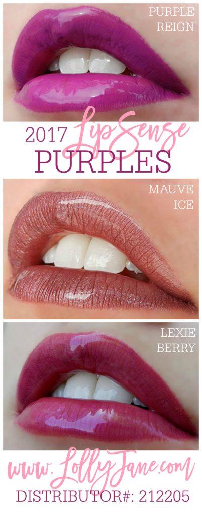 2017 purple LipSense colors. Love these longlasting lipcolors! Collect all 36 shades from LollyJane.com #lipsense
