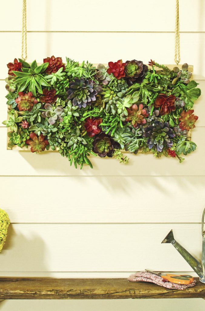 Register for the DIH Vertical Garden Succulent workshop at Home Depot! Learn how to build this gorgeous vertical succulent garden!