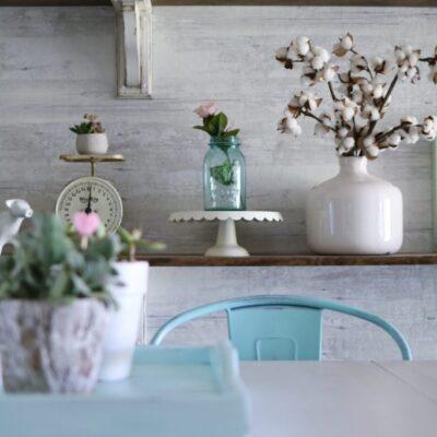 how to style farmhouse shelves