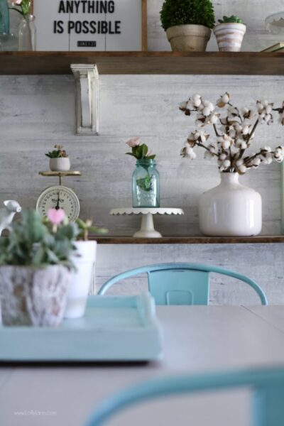 How to Style Farmhouse Shelves. Love this bright space, click for the easy DIY to make your own!