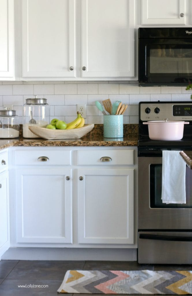WOW! Faux subway tile back splash wallpaper! Peel & stick!!