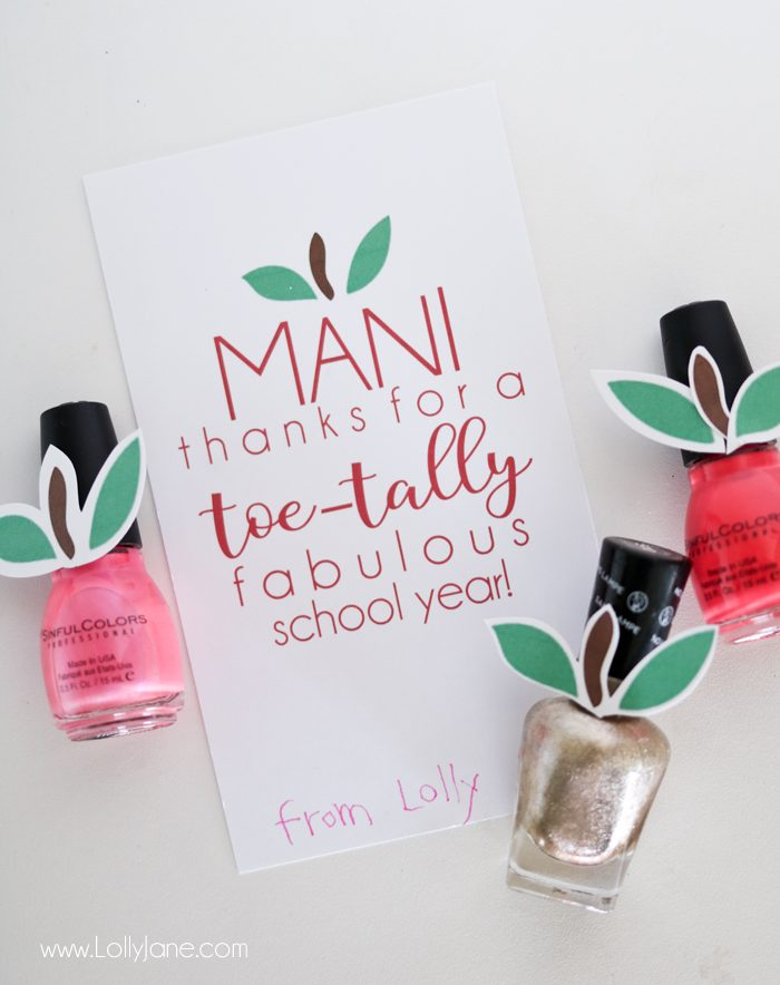 "Cute Teacher Appreciation ""Mani Thanks"" gift tag, just print and pair with a nail salon gift certificate or with nail polish!"
