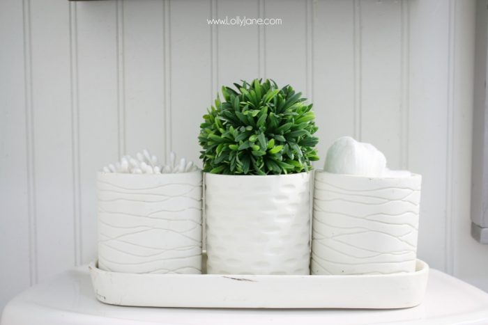 Love these bathroom accesories! They match the farmhouse cabinet project perfectly!