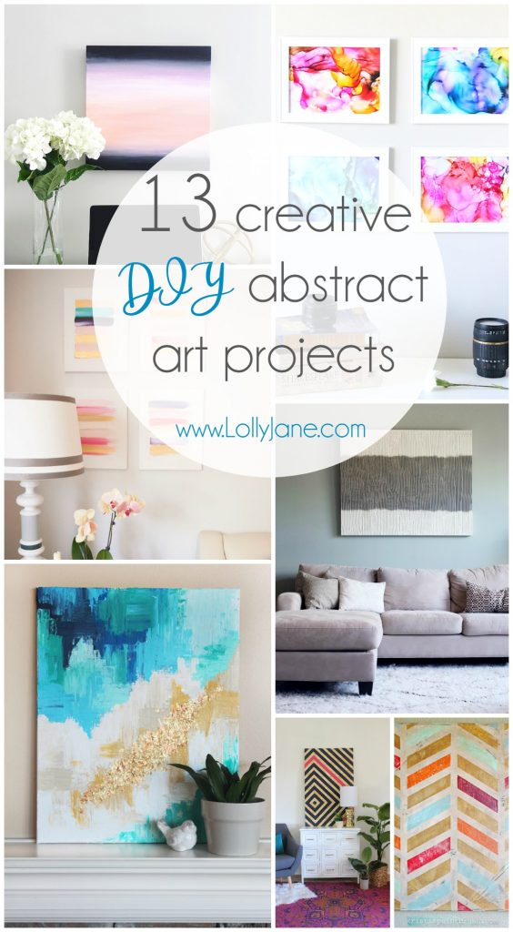 13 creative DIY abstract wall art projects that will add some beauty to your walls. Click to see 12 more easy DIY wall art projects!