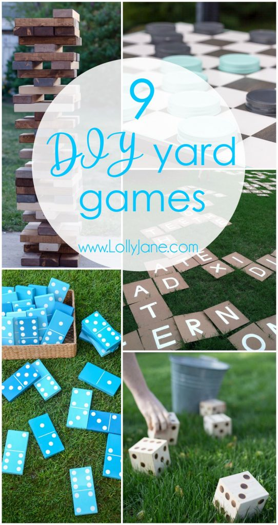 9 DIY Yard Games, perfect to keep the littles at bay this summer or perfect for outdoor entertaining! Click to see 8 other awesome DIY Yard Games!
