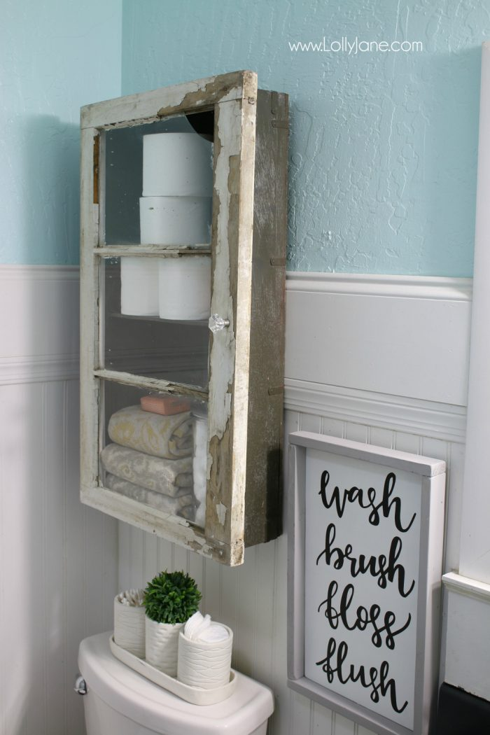 Farmhouse meets color, such a perfect collaboration of farmhouse and rustic. Great DIY cabinet makeover too!