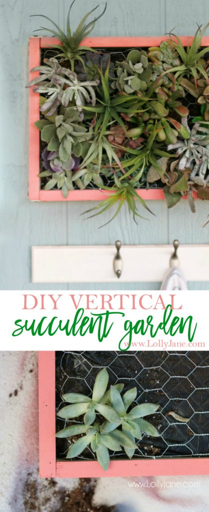 DIY vertical succulent garden | Learn how to build this DIY vertical succulent garden. Cute outdoor porch decor! Great outdoor wall decor idea, get the hanging plants onto the wall!