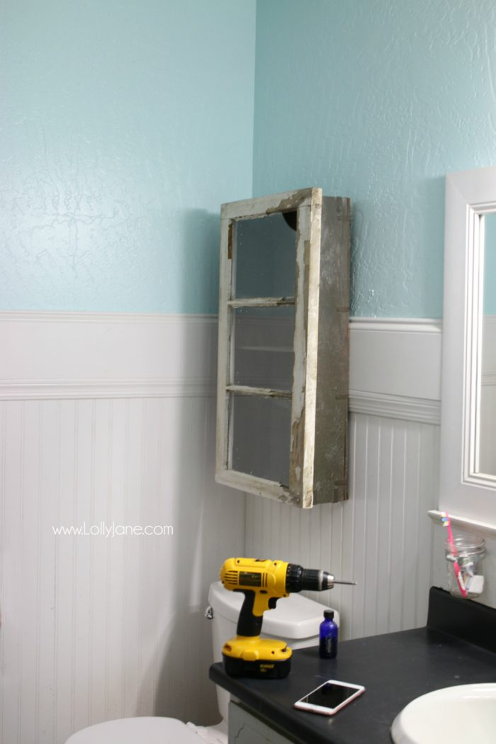 Loving this bathroom cabinet makeover diy, no crazy tools needed!