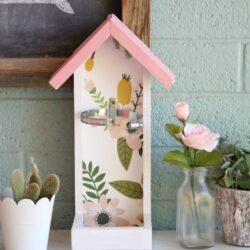 Martinelli's glass bottle bird feeder