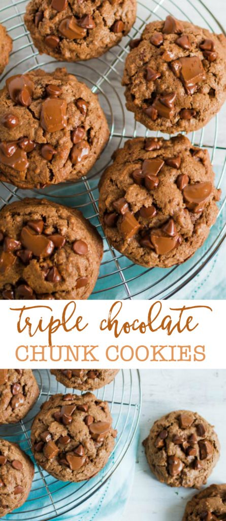 Triple Chocolate Chunk Cookies, yum! Easy recipe and SO GOOD!