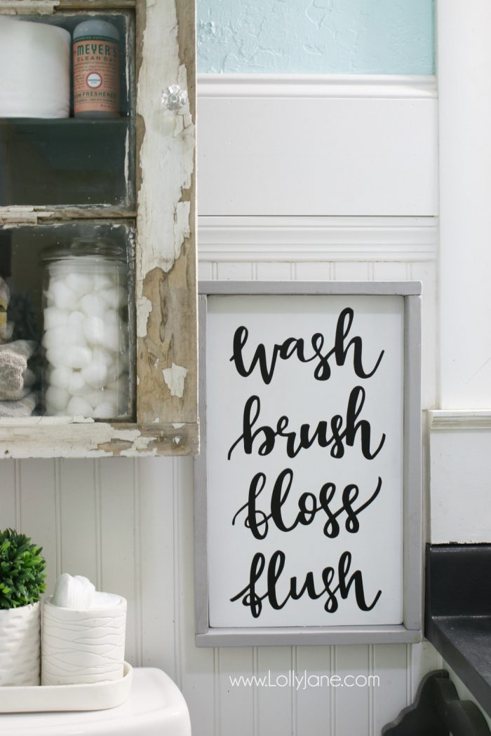 Farmhouse bathroom eye candy! Love this pretty bathroom and adore how much was done on a budget!