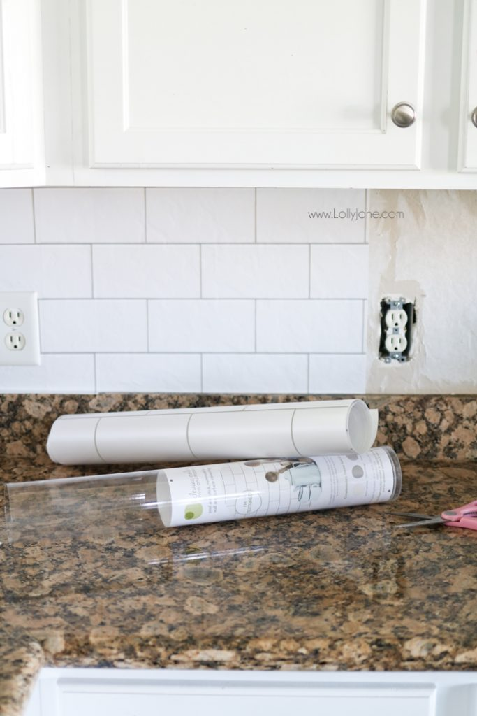 Faux Subway Tile Backsplash... this is WALLPAPER! Looks like real tile & faux subway tile backsplash wallpaper