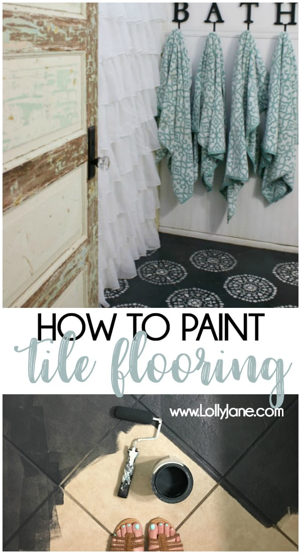 How to paint your tile!! Learn how to paint your tile flooring with chalk paint, so easy and holds up great!! Love this painted tile makeover! #chalkpaint #paintedtile #tilemakeover #stencilfloors #stenciltileflooring #howtostencilfloors