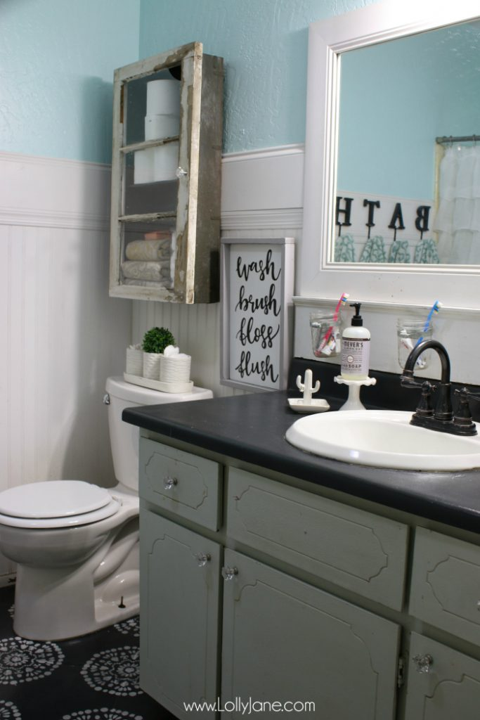 Check out these bathroom cabinet diy plans. Creative items make this cabinet unique!