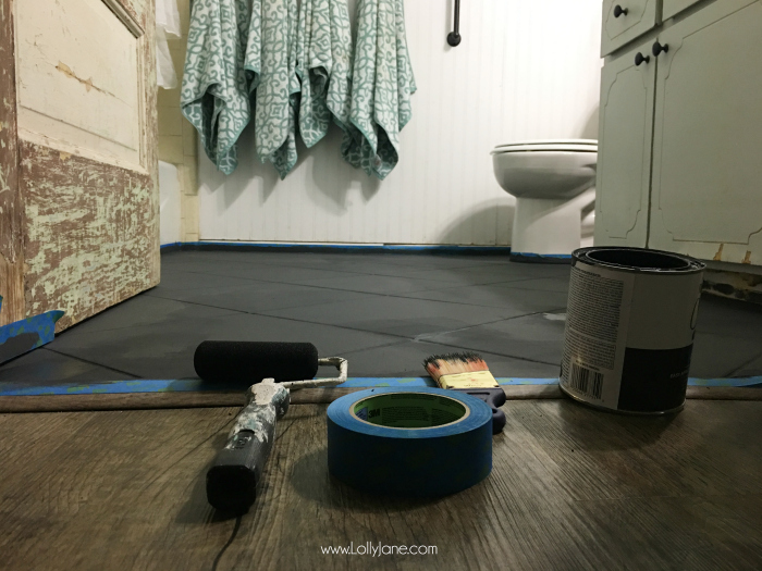 Painting Bathroom Tile Floor hate your tile floors? paint them! - lolly jane
